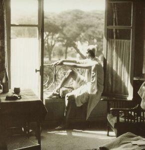 La imagen muestra el interior de una habitación con un gran ventanal. Sobre el alféizar de la ventana está sentada una mujer joven, que apoya las manos delicadamente sobre la barandilla del ventanal y que mira hacia el paisaje que hay afuera. Tiene una expresión abstraída como si estuviera perdida en sus pensamientos. la luz del sol incide sobre su cara. Pulse para ampliar.