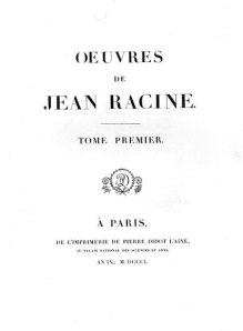 Firmin Didot - Edición de las Obras Completas de Jean Racine (1801)