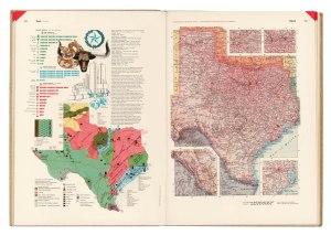 Herbert Bayer - Atlas Universal para la CCA La imagen muestra el atlas abierto: la doble página se corresponde con el estado de Texas. En la página derecha aparece el mapa convencional del estado con las principales ciudades, vías de comunicación, ríos y accidentes geográficos. En la página izquierda aparece un mapa del mismo estado, más pequeño, donde un código de colores muestra las zonas de producción de los distintos sectores. En la parte superior de la página aparece una gráfica que sigue el modelo de isotipos, en los que se muestra el incremento de la producción ganadera y agrícola.Pulse para ampliar.
