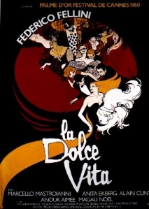 "René Gruau- Cartel original para la película ""La Dolce Vita"" (Federico Fellini, 1960)erico-fellini-gruau-rene 1960"