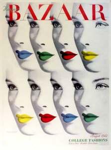 Herbert Bayer - Portada de Harper´s Bazaar (1940) La portada de la revista muestra dos hileras con rostros femeninos solapados como si fueran las cartas de una baraja extendida. Aparecen cuatro rostros en la fila superior y cuatro en la inferior. Es, en realidad, el mismo rostros sólo que los labios aparecen pintados de diferentes colores en cada uno (verde, azul, amarillo y rojo). En la parte superior se muestra en mayúsculas BAZAAR, el nombre de la publicación. Pulse para ampliar.