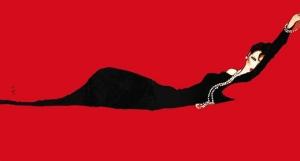 """Rene Gruau - Ilustración """"El sofá rojo"""" (circa 1988)"""