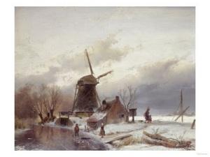 Lawrence Alma-Tadema - Paisaje helado con molino de viento