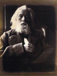 Julia Margaret Cameron - Retrato de su marido Charles Hay Cameron (1864) En la fotografía se aprecia un hombre en plano medio con largos cabellos y barba blancos, sentado en un sillón y mirando directamente al espectador. La luz parece proceder de una ventana situada en la parte izquierda pero que queda fuera del encuadre. Pulse para ampliar.