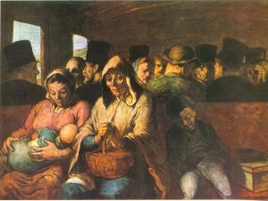 Honoré Daumier - El Vagón de Tercera (1862) - El cuadro, en formato horizontal, presenta el interior de un vagón de ferrocarril. las paredes son de madera. En primer plano se aprecia una familia sentada en uno de los bancos de madera. A la izquierda está una mujer joven que sostiene en sus brazos u bebé al que mira con ternura. A su derecha se encuentra un hombre de mirada cansada, cubierto con una capa y con la capucha puesta, que sostiene un cesto de mimbre sobre su regazo. a su lado, y medio recostado sobre él, está un niño de unos ocho años, profundamente dormido. Al fondo, detrás de la familia, se adivina el resto de los pasajeros del vagón. Pulse para ampliar.