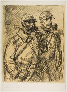 Teophile Alexander Steinlen - Dos soldados (1915). Dibujo a lápiz que muestra a dos soldados franceses durante la Primera Guerra Mundial. Caminan juntos, están demacrados y parecen sucios. Ambos están fumando en pipa, que sostienen con la mano. Pulse para ampliar.