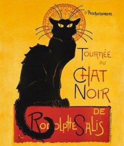 """Theophile Alexander Steinlen - Cartel """"El Gato Negro"""" (1896). La imagen muestra la silueta negra de un gato que ocupa casi todo el encuadre sentado sobre una base de color rojo. El texto, en la parte derecha del cartel dice: """"Tournee du Chat Noir"""" y en la base """"de Rodolphe Salis"""". El cartel sólo tiene tres colores: el amarillo brillante del fondo y de los ojos del gato, el negro de la silueta del gato y el rojo de la base sobre la que se sienta el animal. Pulse para ampliar."""