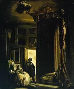 James Pryde - El médico (1909) El cuadro muestra un dormitorio en penumbra, iluminado sólo por la luz que procede del exterior del mismo a través de la puerta. Una mujer aparece recostada en un sillón mientras un hombre, del que sólo se aprecia la silueta, se acerca a ella.