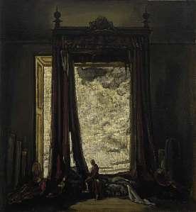 James Pryde - Una silueta (1921) El cuadro muestra una habitación en penumbra . La luz procede de algún lugar fuera de la estancia. Se aprecia la silueta de una cama con dosel y la de una persona cabizbaja al lado de la misma.