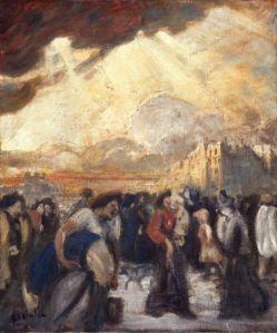 Theophile Alexander Steinlen - La entrada de los obreros (1905). La imagen muestra un grupo de personas, cuyas ropas las identifican como obreros, hombres y mujeres, que se encaminan hacia un lugar, desplazándose de izquierda a derecha. Al fondo se aprecia el perfil de los edificios de una ciudad. El cielo aparece cubierto de nubes, pero entre ellas se cuelan unos rayos de sol que iluminan la escena. Pulse para ampliar.
