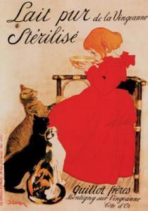 Teophile Alexander Steinlen - Cartel para la Lechería de los Hermanos Quillot (1894). La imagen muestra a una niña de unos seis años sentada, de perfil, en una silla de mimbre y vestida con un traje de color rojo intenso. La niña está bebiendo un cuenco de leche y, a sus pies, tres gatos (uno moteado, otro negro y el tercero de tricolor) levantan la cabeza mirando hacia ella con gesto inequívoco de pedir comida. Pulse para ampliar.