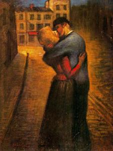 Theophile Alexander Steinlen - El Beso (1895). La imagen muestra una calle al anochecer, iluminada por las farolas. En primer plano, un hombre vestido con ropas modestas, abraza con fuerza y besa apasianadamente a una mujer que le responde con igual apasionamiento. Pulse para ampliar.