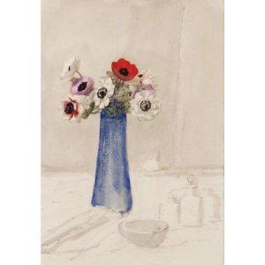 Theophile Alexander Steinlen - Jarrón con Anémonas. La imagen presenta un jarrón de color azul intenso sobre una mesa cubierta con un mantel blanco sobre el que apenas se aprecian otros objetos blancos, como un cuenco y tres pequeños botes. Dentro del jarrón hay un pequeño ramo de anémonas silvestres de color blanco y rojo. Pulse para ampliar.
