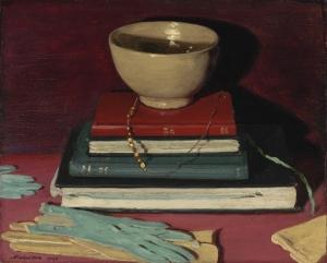 William Nicholson - Libros y cosas (1920) Sobre una mesa aparecen dispuestos cuatro libros uno sobre otro. Encima de todos ellos, un cuenco vacío de porcelana. Sobre la mesa, asimismo, están esparcidos dos pares de guantes de piel.