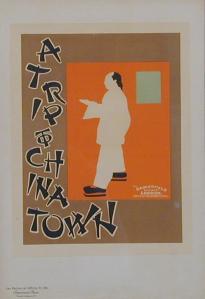 William Nicholson y James Pryde (Beggarstaff J & W) - Cartel para A Trip To Chinatown (1899) El cartel parte del anterior, sólo que el fondo cambia a color naranja y se le añade una orla de color marrón, más ancha en el margen izquierdo donde se sitúan unas letras que imitan los trazos caligráficos chinos con la leyenda A Trip to Chinatown