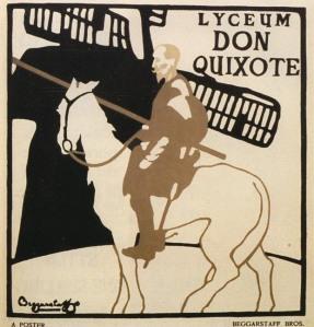 """William Nicholson y James Pryde (Beggarstaff J & W) - cartel para Don Quijote (1895) Cartel de formato cuadrado. Sobre un fondo claro se precia en último termino la silueta negra de un molino de viento. En primer termino, la figura de Don Quijote en marrón sobre su caballo. En la parte superior izquierda """"Lyceum Don Quixote"""". Firma """"Beggarstaff Bros."""" en la parte inferior izquierda. Se utilizan tres colores: negro, marrón y blanco."""