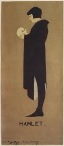 """William Nicholson y James Pryde (Beggarstaff J & W) - Cartel para Hamlet (1894) Cartel en formato rectangular vertical. Sobre un fondo uniforme de color marrón claro aparece la figura del principe Hamlet, de pie y de perfil, sosteniendo una calavera en sus manos. Se utilizan sólo tres colores: marrón de fondo, marfil para el rostro y la calavera y negro para el traje del personaje. En la parte inferior, centrada, aparece la palabra """"Hamlet"""""""