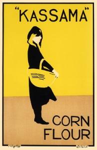 William Nicholson y James Pryde (Beggarstaff J & W) - Cartel publicitario de harina de maíz Kassama (1894)