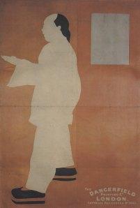 William Nicholson y James Pryde (Beggarstaff J & W) - Original del cartel para A Trip To Chinatown (1898) Sobre un fondo marrón anaranjado se advierte una silueta blanca de hombre con vestimenta oriental y coleta, de pie y de perfil, mirando hacia la izquierda. En la parte superior derecha un rectángulo gris que asemeja una ventana. Se utilizan cuatro colores en el cartel: marrón del fondo, el blanco de la silueta del hombre, el negro de sus zapatos y coleta y el gris de la ventana.