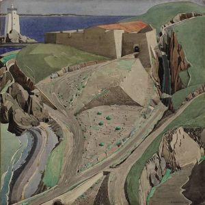 Charles Rennie Mackintosh - El Fuerte (1926) - La imagen muestra un paisaje. en primer término un camino que se dirige de derecha a izquierda. al otro lado de ese camino se aprecian una serie de formaciones rocosas bastante abruptas y geométricas. Más allá, la línea de la costa y lo que parece ser un faro o una torre en último plano. Todo ello realizado en colores grisáceos y verdosos, con la única nota de contraste de un tejado anaranjado que se ve en la lejanía. Pulse para ampliar.