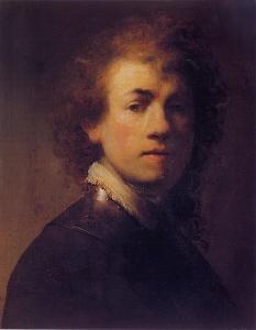 La imagen muestra un autorretrato pintado por Rembrandt . es un primer plano, con los hombros en tres cuartos y la cabeza girada hacia el frente, mirando al espectador. El fondo es oscuro, al igual que las ropas que lleva y la iluminación, que procede de la parte izquierda nos deja apreciar la mitad de su rostro mientras que la otra mitad estad casi en penumbra. Pulse para ampliar.