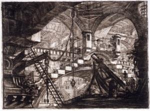 """Giovanni Battista Piranesi - """"Carceri d´invenzione"""" (Carceles imaginarias) -  Carcel XI """"El arco decorado con una concha"""" - La imagen muestra un subterráneo oscuro iluminado por ventanas situadas en la parte superior. Esa iluminación permite apreciar una serie de bóvedas, arcos, pasarelas y escaleras que se entrecruzan de forma laberíntica. Dos figuras humanas apenas perceptibles situadas en la parte inferios izquierda nos dan idea de las gigantescan proporciones de la construccion. Pulse para ampliar."""