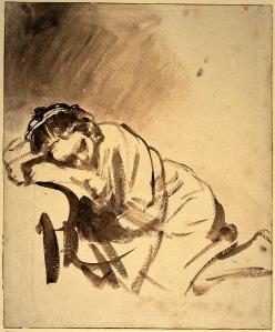 - la imagen muestra un dibujo hecho con pincel en el que se aprecia una mujersentada en el suelo con el brazo y la cabeza apoyado sobre un sillón, durmiendo profundamente. Pulse para ampliar.