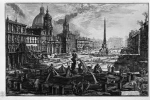 "Giovanni Battista Piranesi: ""Vedute di Roma"" - Piazza Navona (1778) - La imagen muestra una vista de la plaza Navona en Roma, con sus fuentes y principales edificios, donde destaca la iglesia de Sant´Agnese in Agone. Pulse para ampliar."