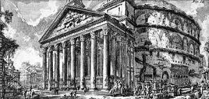 """Giovanni Battista Piranesi: """"Antichità romane"""", Vol. II - """"Panteón"""" (1756) - La imagen muestra una vista exterior del Panteón de Agripa en Roma, templo de planta circular, cubierto con una cúpula y que tiene adosado en el frente un pórtico de ocho columnas de orden compuesto. También se muestra parte de los terrenos y edificaciones que le rodean, así como varias figuras humanas que sirven para apreciar la escala del edificio. Pulse para ampliar."""