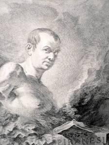 """Felice Polanzano - Retrato de Giovanni Battista Piranesi (grabado - 1750) - La imagen muestra un grabado en el que, en plano medio y visto desde abajo, se aprecia el busto desnudo de Piranesi, mirando con gesto un tanto airado al observador., sobre un fondo de nubes. En la parte inferior, una losa de piedra con la inscripción """"Piranesi, arquitecto veneciano"""" grabada sobre ella. Pulse para ampliar."""