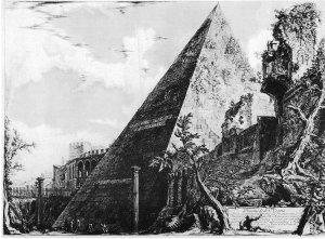 """Giovanni Battista Piranesi - """"Vedute di Roma"""": Pirámide de Cayo Cestio (1778) - La imagen muestra el monumento en forma de pirámide de Cayo Cestio en Roma. A su lado pueden apreciarse restos de murallas y edificios cubiertos de maleza. Pulse para ampliar."""