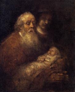 El cuadro muestra al anciano Simeón sosteniendo en brazos a Jesús y entonando el cántico. Las figuras están muy oscuras, son apenas perceptibles y la luz no parece iluminar a ninguna de ellas. Pulse para ampliar.