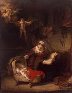 El cuadro muestra un plano general de un interior oscuro en el que destaca, en primer plano, una cuna de madera donde está un niño dormido. Detrás de él, una mujer se inclina sobre la cuna y levanta las telas que la cubren para comprobar que el niño está efectivamente dormido. la mujer estaba leyendo y sostiene en su mano izquierda el libro abierto. Al fondo, se aprecia la silueta de un hombre que trabaja con sus herramientas. y en la parte superior izquierda, también iluminados, un grupo de ángeles miran hacia abajo, contemplando la escena. Pulse para ampliar.