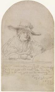 - El dibujo, realizado con punta de plata, muestra un plano medio de una mujer joven tocada con una sombrero de paja de ala ancha, adornado con flores. Apoya el rostro en su mano izquierda y no mira directamente al espectador, sino que baja los ojos con timidez. Pulse para ampliar.