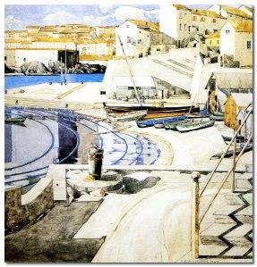 Charles Rennie Mackintosh - La pequeña bahía (Port Vendres) (1927) - La imagen muestra una acuarela con un paisaje de una bahía que se extiende a la derecha formada por un muelle y una serie de pequeñas casas de color blanco. A la izquierda, se aprecia parte del mar. Pulse para ampliar.