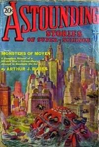 Portada del primer número de Astounding Stories (abril 1930) - La imagen muestra una portada realizada con una ilustración con colores brillantes que representa una ciudad vista desde lejos llena de rascacielos y edificios modernos. Pulse para ampliar.