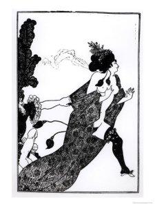 """Vincent Aubrey Beardsley - Cinesias instando a Myrrhina al coito (ilustración para """"Lisístrata"""" de Aristófanes) - 1896 - la imagen muestra a una mujer vestida únicamente con una bata abierta y medias que corre huyendo de la persecución de un hombre que está fuera de encuadre y del que sólo se aprecia el brazo y la mano con la que agarra la bata de la mujer que huye y un enorme pene erecto. Pulse para ampliar."""