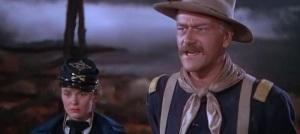 """Fotograma de """"La Legión Invencible"""" (John Ford, 1949) - Escena de la película en la que aparece el principal protagonista en primer plano, encarnado por John Wayne. Pulse para ampliar."""