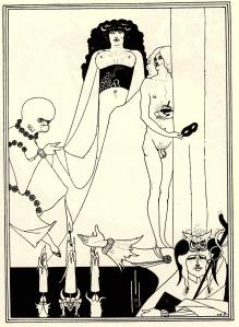 """Vincent Aubrey Beardsley - Herodías hace su entrada (ilustración para """"Salomé"""" de O. Wilde) - 1893- La imagen muestra en primer plano y en la parte inferior de la imagen tres velas encendidas y la parte superior de un candelabro. A su lado se apoya un bufón, tocado con una especie de gorro en forma de buho y que lleva en una mano un caduceo. Con la otra hace el gesto de presentación hacia una figura que entra por el último término: es Herodías, vestida con una tela transparente que deja ver su anatomía, sobre todo sus grandes pechos. Herodías está flaqueada por dos figuras extrañas: a la derecha por una figura masculina de menor tamaño, completamente desnuda que sostiene un antifaz negro en la mano. A la izquierda, un extraño ser con cabeza como si fuera un feto, vestido con una túnica que se tensa de modo notable a la altura de sus genitales. Pulse para ampliar."""