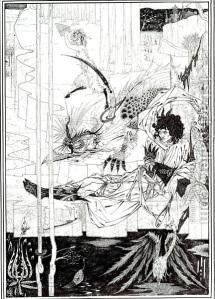 Vincent Aubrey Beardsley - Cómo el rey Arturo vio a la bestia (Ilustración para La Morte D´Arthur de Sir Thomas Mallory) - 1893 - La imagen muestra un dibujo realizazo en blanco y negro. La parte inferior es una especie de lago de aguas megras en donde crece en la parte izquierda una flor exótica y en la derecha aparece una ave extraña similar a un pelícano. En la parte media y yaciendo sobre un terreno yermo se encuentra un hombre, recostado sobre una roca que mira con gesto serio a una criatura con forma de pájaro, pero de gran tamaño, con un enorme pico y con plumas que parecen de pavo real. La parte superior del dibujo está ocupado por el paisaje que continúa,en el que se puede ver la pequeña figura de un fauno 8un ser con cuerpo de hombre y patas de macho cabrío) que se aleja con gesto de enfado mientras agita en una de sus manos una flauta de Pan. Pulse para ampliar.