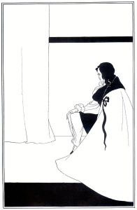 Vincent Aubrey Beardsley - Ilustración para La Caída de la Casa Usher de E. A. Poe (1895) - la imagen muestra una habitación casi vacía. En la parte derecha de la imagen un hombre sentado cubierto con una capa y cabizbajo. Al fondo, se aprecian unas cortinas. El dibujo, en blanco y negro, está formado a base de unas pocas líneas sobre el fondo blanco, destacando sobre ello la masa negra de parte del suelo (en la parte inferior), el cuello de la capa y el pelo del hombre y una fina franja sobre la pared del fondo. Pulse para ampliar.