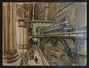 """Boceto de Jean-Claude Mezières para la película """"El quinto elemento"""" (Luc Besson, 1997) - La imagen muestra uno de los bocetos para el diseño del entorno urbano del Nueva York futurista de la película, en donde destaca la figura de un taxi aéreo. Pulse para ampliar."""