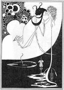 """Vincent Aubrey Beardsley - Voy a besar tu boca, Jokanaam (ilustración para """"Salomé"""" de O. Wilde) - 1893 - La imagen muestra una mujer en la parte superior del dibujo, flotando en el aire sobre un fonda la mitad blanco, la mitad decorado con pequeños círculos blancos y negros. En sus manos sostiene una cabeza cortada, a la que mira con deseo y a la que parece ir a besar. De la cabeza cae un hilo de sangre que acaba en las aguas negras que ocupan la parte inferios de la ilustración. del final del reguero de sangre surge una flor. Pulse para ampliar."""