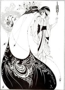 """Vincent Aubrey Beardsley - El traje de Pavo Real (ilustración para """"Salomé"""" de O. Wilde) - 1893 - La imagen muestra dos mujeres de cuerpo entero vestidas con trajes cuyo remate recuerda la forma de una pluma de pavo real. Pulse para ampliar."""