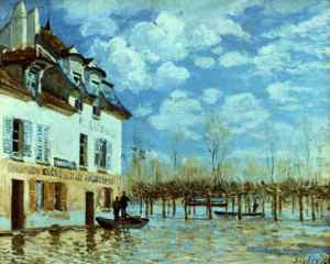 Alfred Sisley - Barca en las inundaciones de Port-Marly (1876) - La imagen muestra un edificio en perspectiva en el lado izquierdo del encuadre, al que el agua llega hasta el primer piso, aproximadamente. Cerca de él, hay una barca con un hombre en su interior. Al fondo, una hilera de árboles parcialmente sumergidos en el agua. Pulse para ampliar.