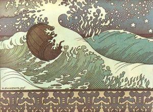 """Ivan Bilibin - Ilustración para el """"Cuento del rey Saltan, de su hijo el príncipe Guidon y de la bella princesa Cisne"""" (escrito por Aleksander Pushkin), 1904 - La imagen muestra un mar embravecido con grandes olas que terminan en crestas de espuma blanca y entre las que se mueve a la deriva un gran tonel de madera. En la parte inferior de la imagen aparece una franja decorativa con motivos vegetales estilizados. Pulse para ampliar."""