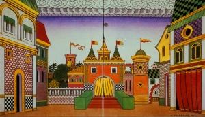 """Ivan Bilibin - Decorado para la ópera """"El gallo de oro"""" de Nikolai Rimski-Korsakov (1909) - La imagen muestra un boceto colorido en el que se ve un castillo a lo lejos y las fachadas de dos edificios que flanquean los lados del escenario. Pulse para ampliar."""