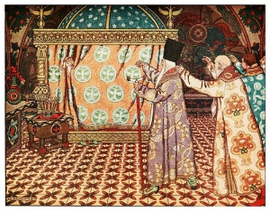 """Ivan Bilibin - Ilustración para el cuento """"El pequeño caballo jorobado"""" (Cuentos Maravillosos) - 1912. La imagen muestra el interior de un dormitorio lujoso en el que se ve, al fondo, una cama con un dosel de tela ricamente bordada. Entre las telas del dosel asoma la cabeza de un anciano. En el extremo derecho de la imagen aparecen tres hombres, dos ancianos y otro más joven, que se dirigen con gesto conminatorio hacia el anciano de la cama. Pulse para ampliar."""