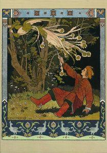 """Ivan Bilibin - Ilustración para el cuento """"El zarevich Ivan, el pájaro de fuego y el lobo gris"""" dentro de la antología de A. Afanasiev (1899) - La imagen muestra a un muchacho caído en el suelo en medio de un bosque que intenta asir por una de sus patas a un pájaro de extraño plumaje. la ilustración está rodeada por una orla decorativa que reproduce motivos de aves. Pulse para ampliar."""