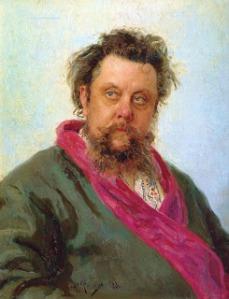 Ilya Repin - Retrato del compositor Modest Mussorgsky (1881) - La imagen muestra un retrato al óleo en el que aparece en plano medio el compositor. Es un hombre de gran volumen y aparece vestido con una bata verde con el cuello color magenta. Su mirada se dirige hacia detrás del espectador, sus ojos están enrojecidos, el pelo revuelto y luce una barba larga y absolutamente descuidada. Pulse para ampliar.